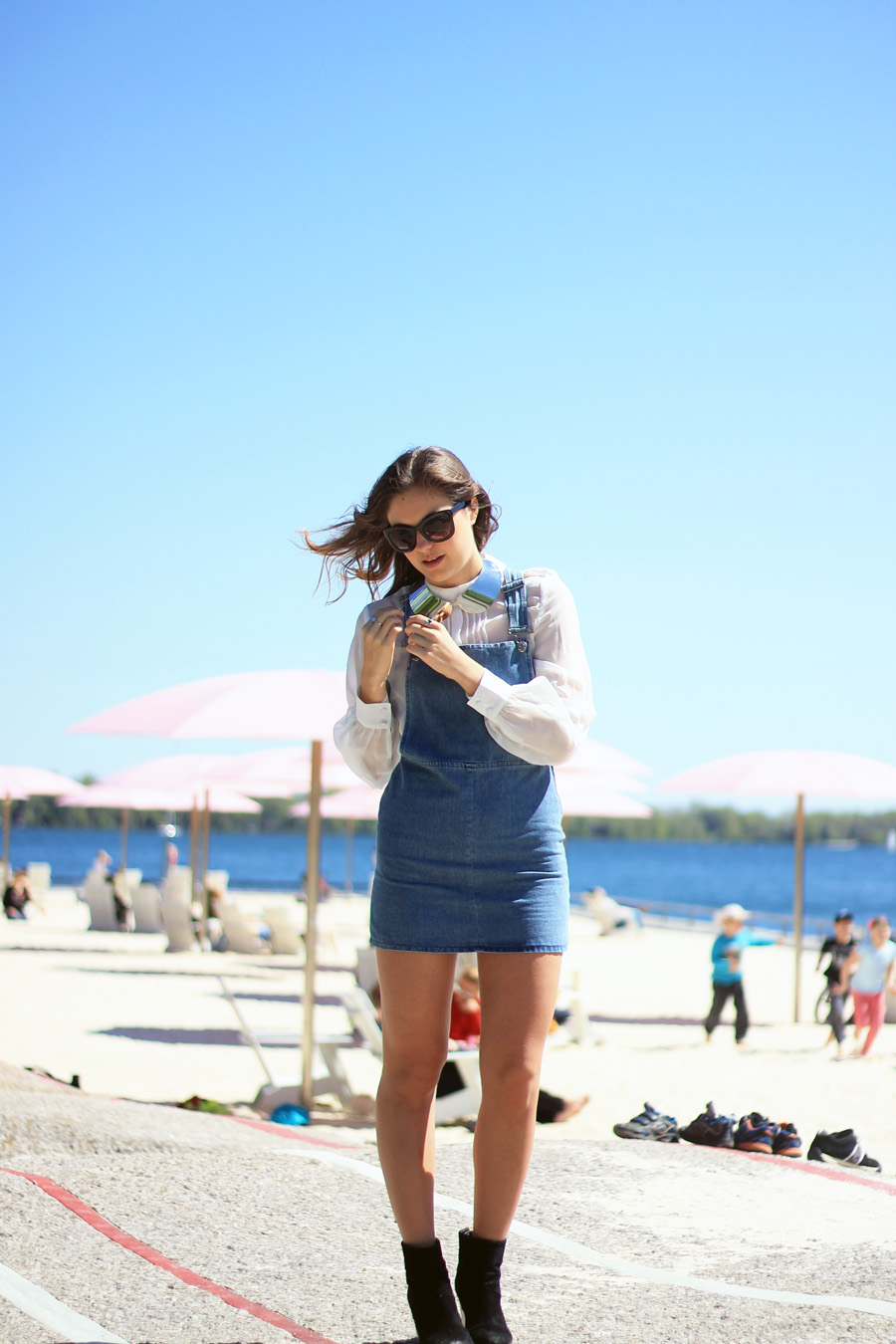 denim pinafore white blouse