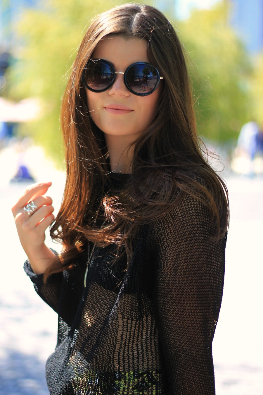 round sunglasses with mesh sweater