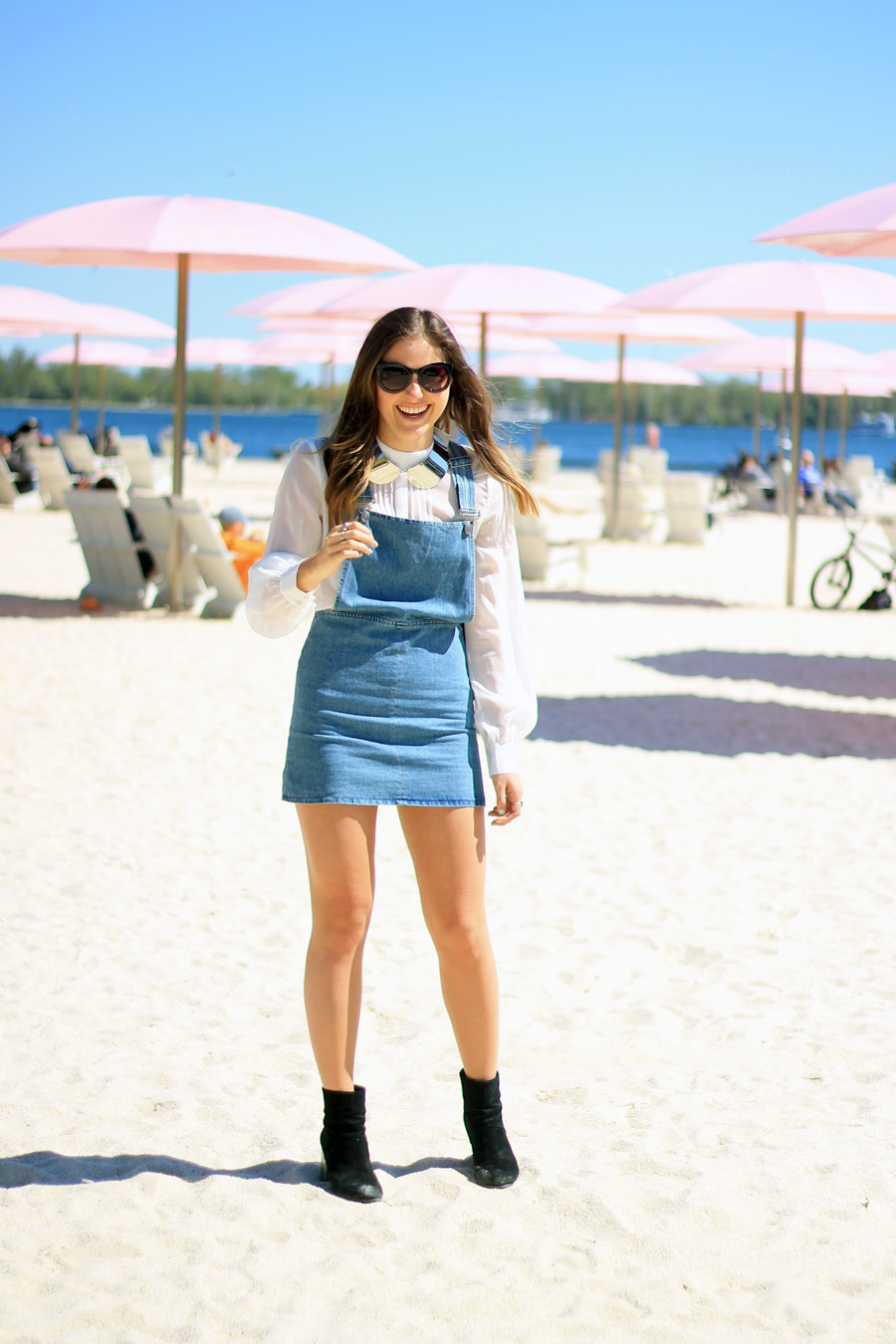 denim dress outfit white blouse