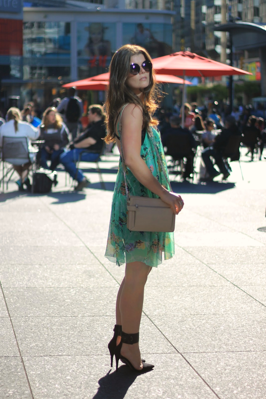 green floral dress outfit