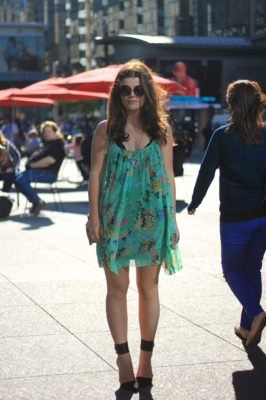 green yellow floral dress