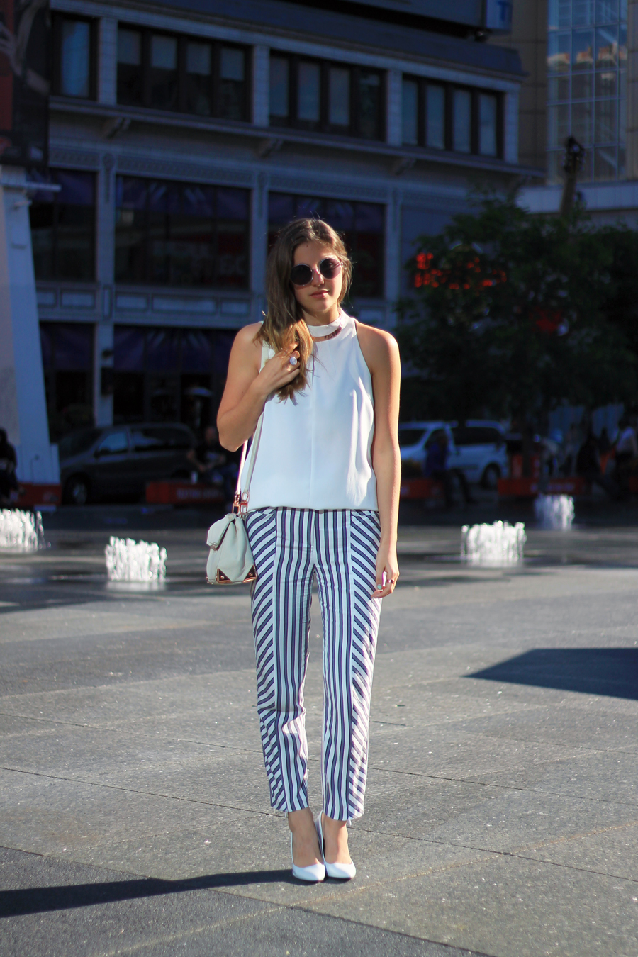 striped pants white tank white heels