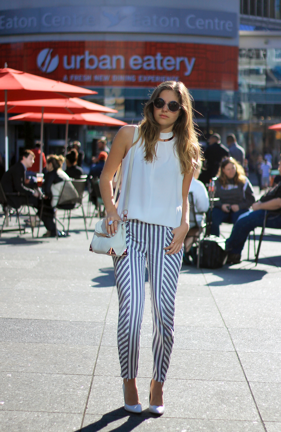 striped pants white top