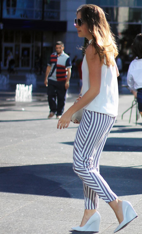 white tank stripe pants