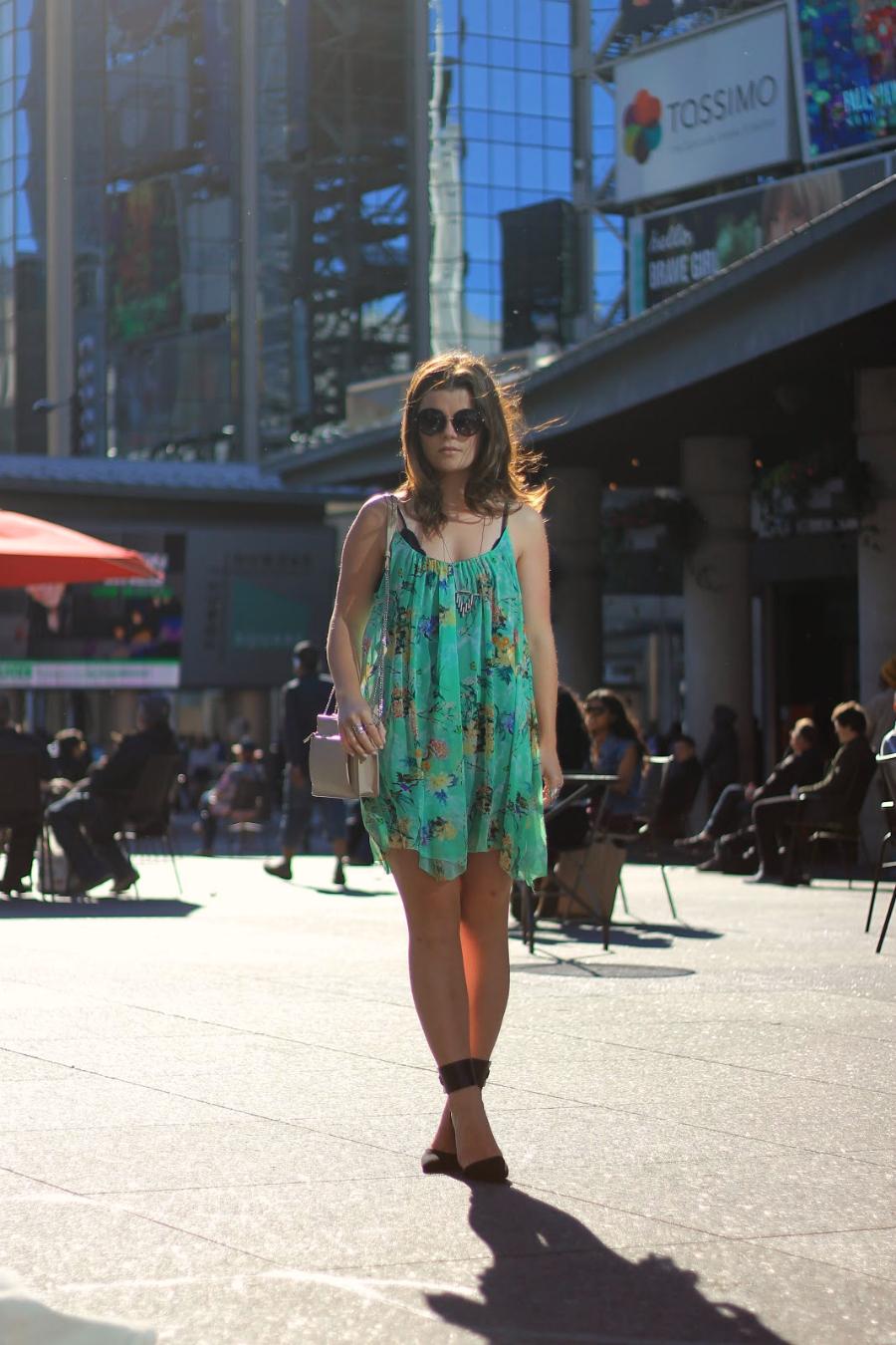 green floral flowy dress