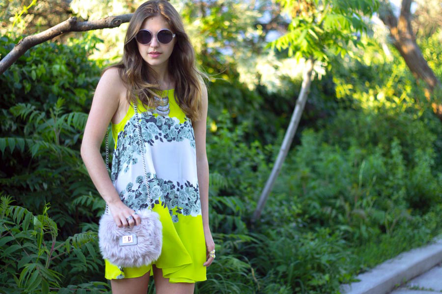 neon floral dress fur bag
