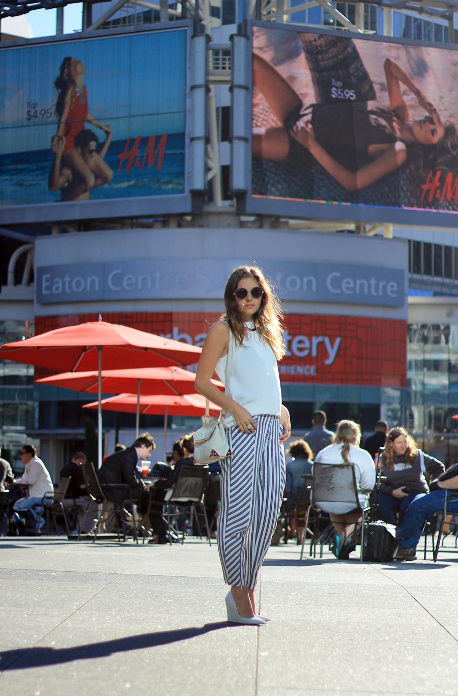 white top striped pants