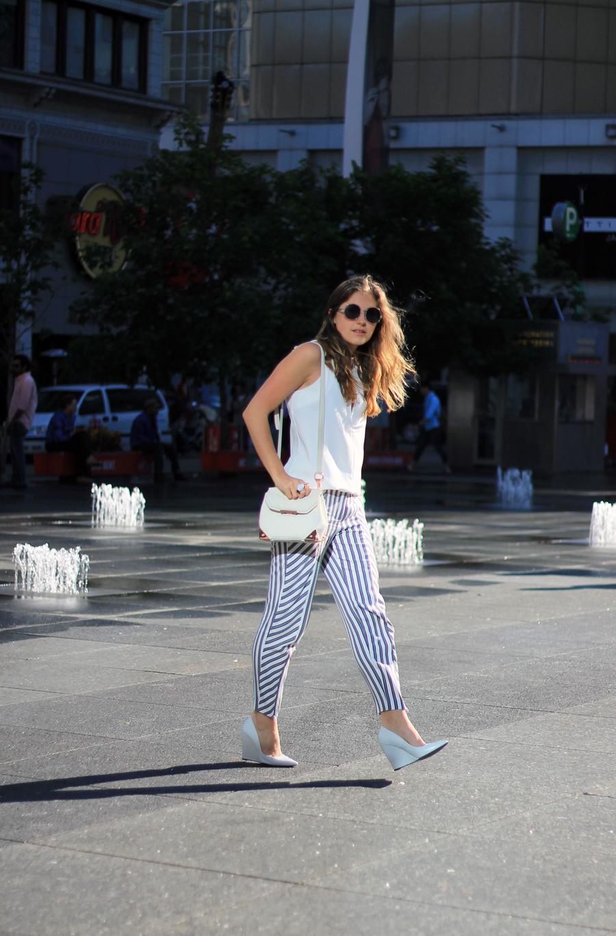 striped trouser white tank