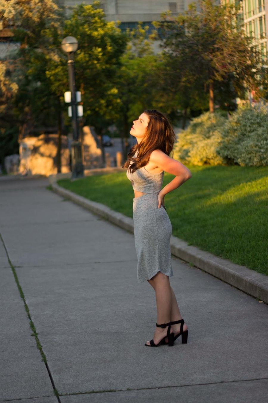 midi grey dress slit