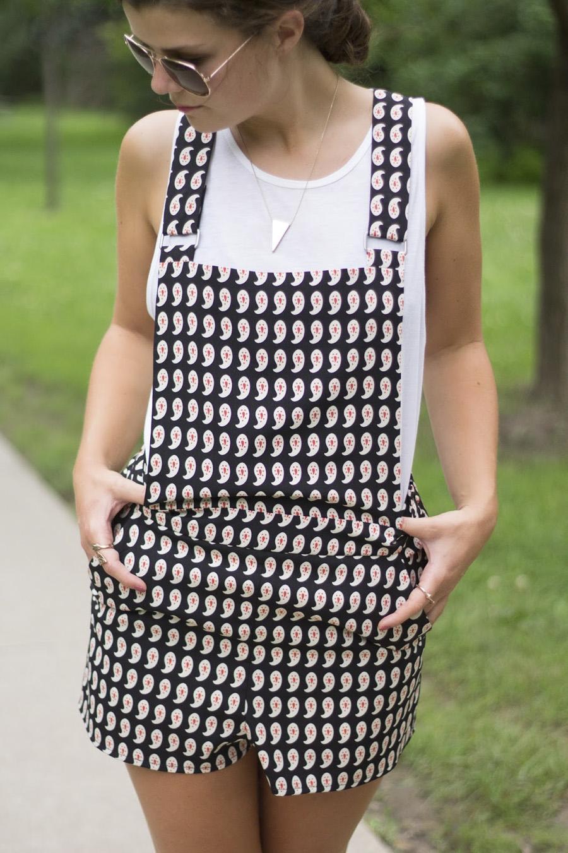 print paisley overalls romper