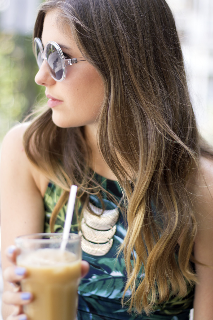 clear sunnies girl coffee iced