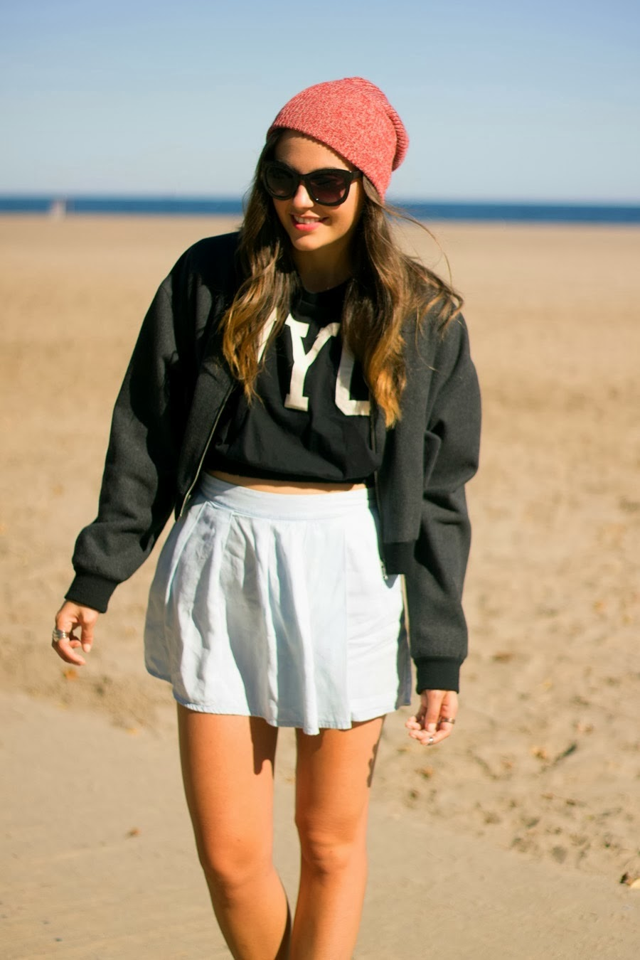 forever 21 crop tee, bomber, jacket, topshop, sunglasses, lightwash skirt, zara