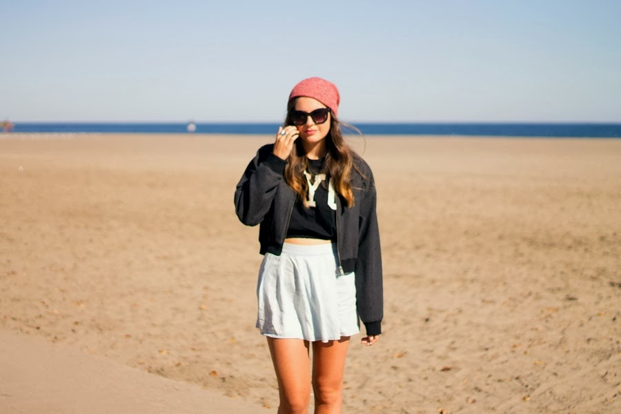 red beanie, bomber, jacket, zara skort, nyc crop tee, sweater, topshop boots