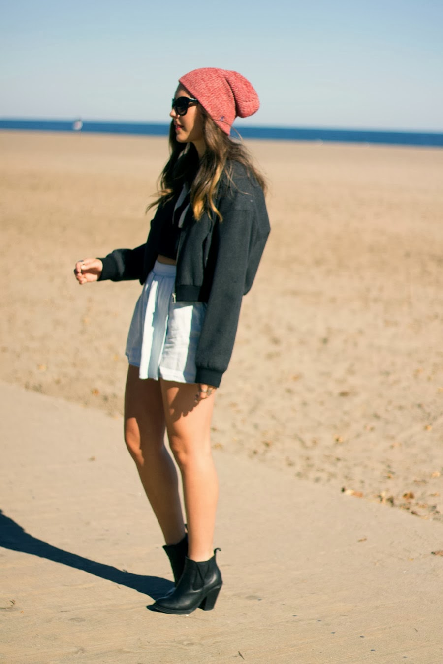 topshop, zara, crop sweater, forever 21, red beanie, beanie, topshop boots