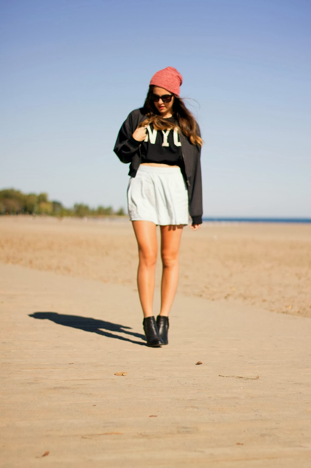 zara, light denim, bomber, jacket, nyc crop tee, topshop sunglasses