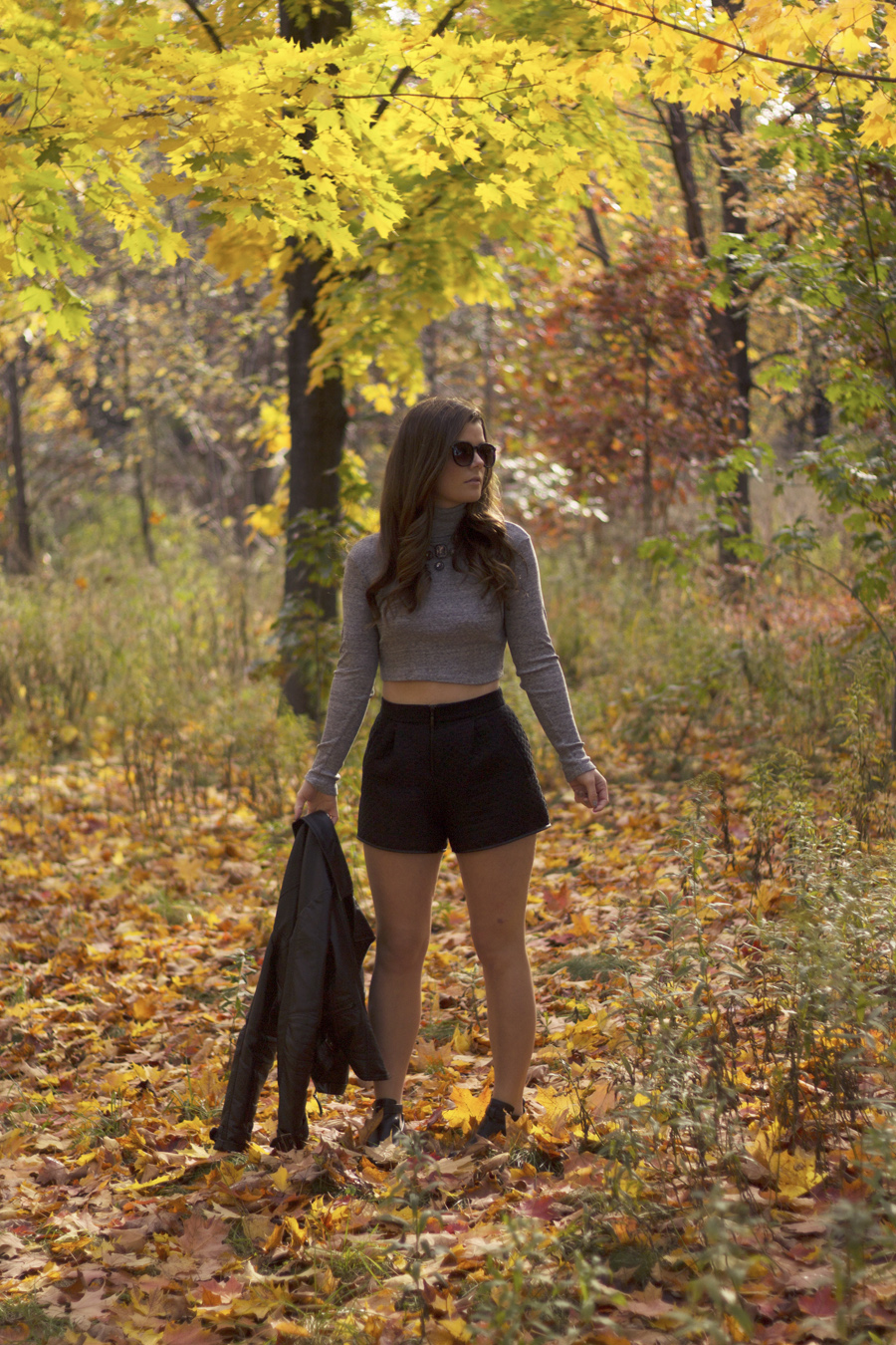 leather jacket zara shorts turtleneck fall forest