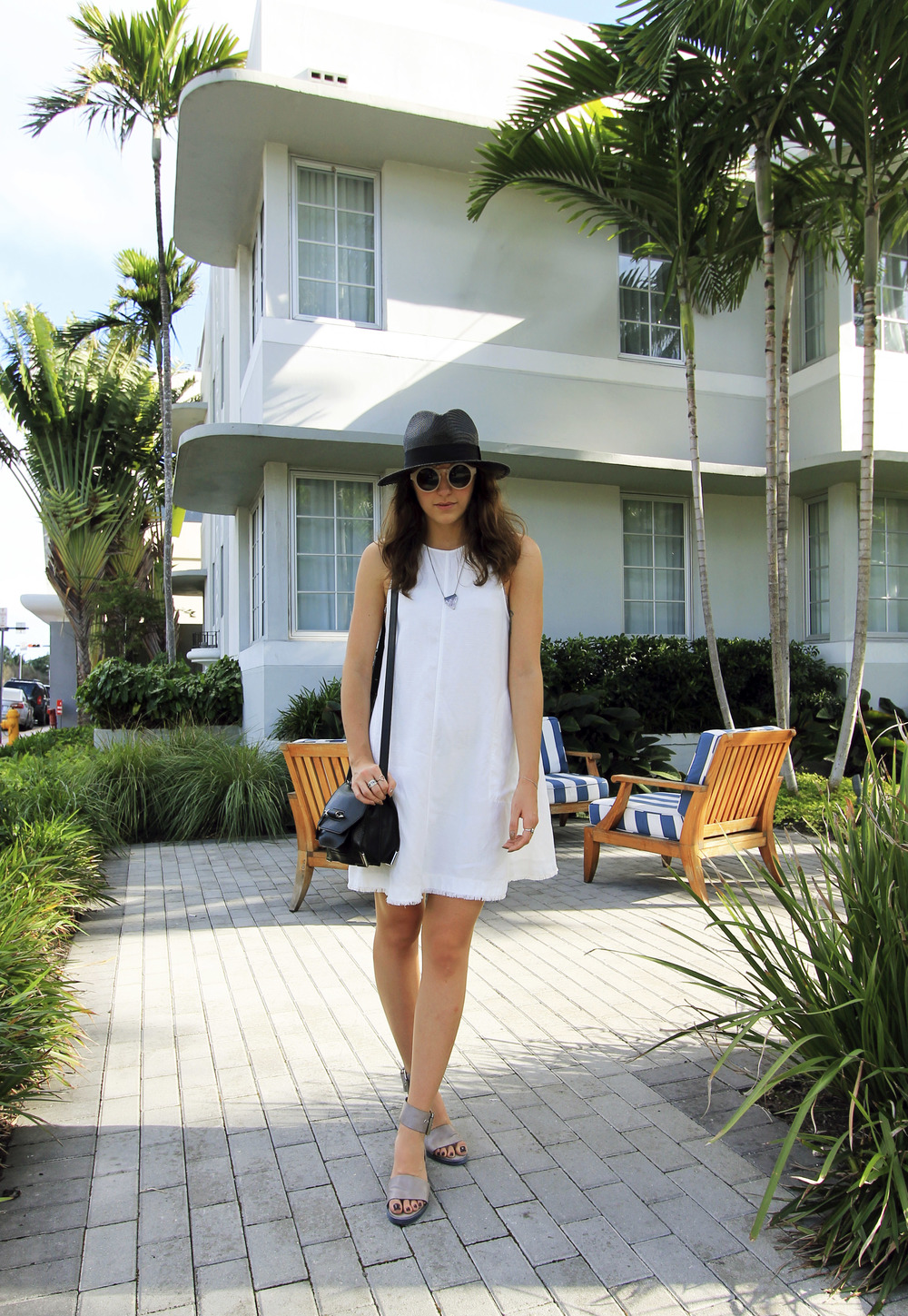 outfit vacation style white dress grey sandals straw hat black miami.jpg
