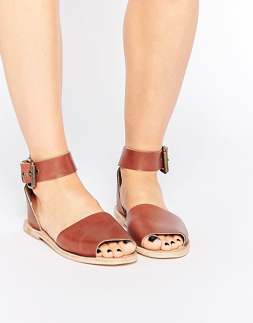 Hudson London Soller Tan Leather Flat Sandals two part buckle.jpg