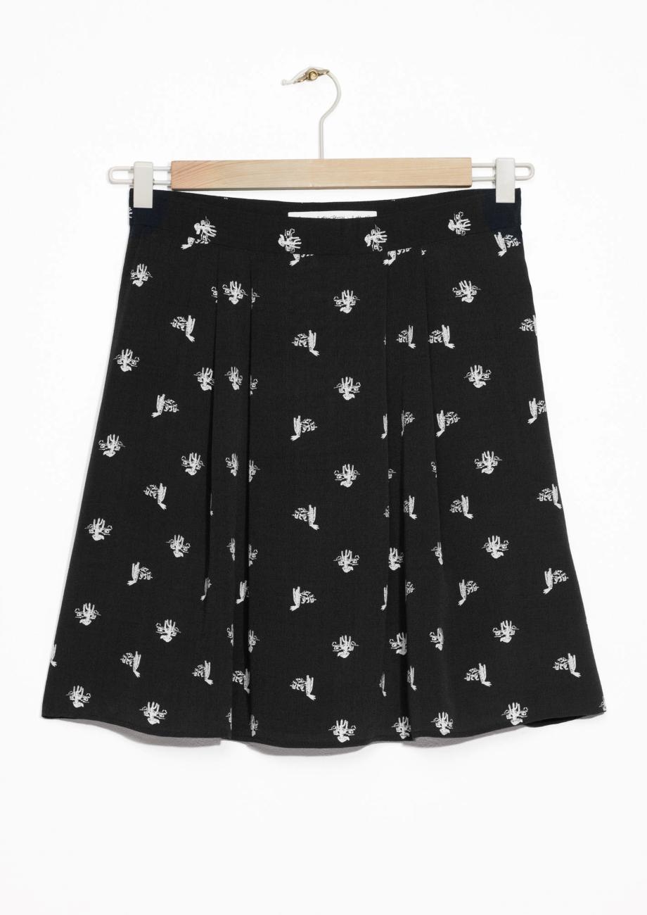 Cactus Print Skirt & other stories black white.jpg