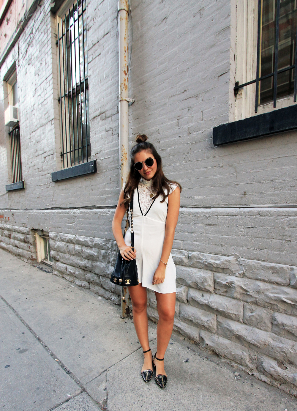Asos white lacy playsuit zara studded flat sandals toronto blogger.jpg
