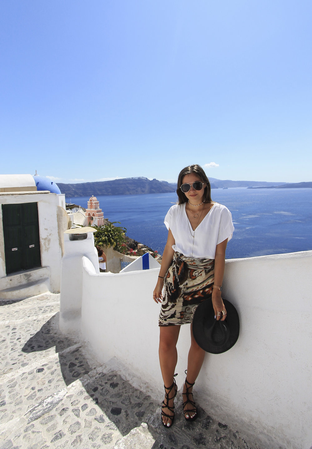 oia santorini style outfit skirt h&m hat rebecca minkoff black lace up sandals.jpg