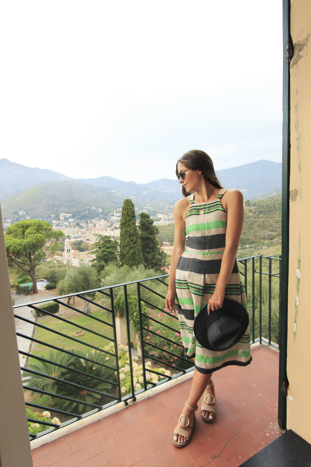striped midi fit flare dress whistles black straw hat style italy travel fashion blog.jpg