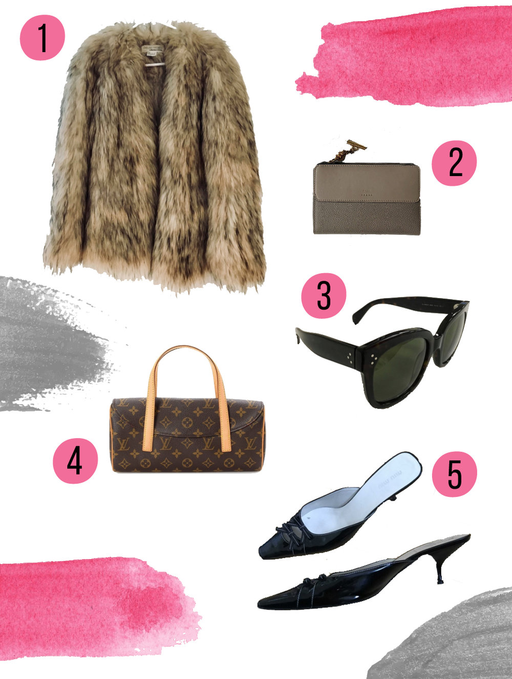 1.    FUR COAT    // 2.    CHLOE WALLET    // 3.    CELINE SUNGLASSES    // 4.    LOUIS VUITTON BAG    // 5.    MIU MIU MULES