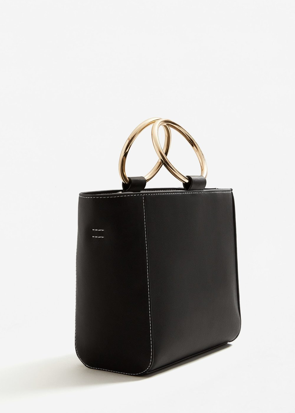 Metal top handle bag,    mango.com    $59.99