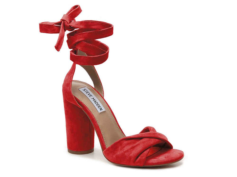 Red suede lace up block heel, dsw.com $59.95