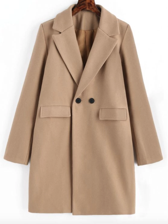 LONGLINE CAMEL - This classic style coat is a Winter wardrobe essential! The neutral color pairs well with anything. Style it with a designer handbag and scarf for a classy look.