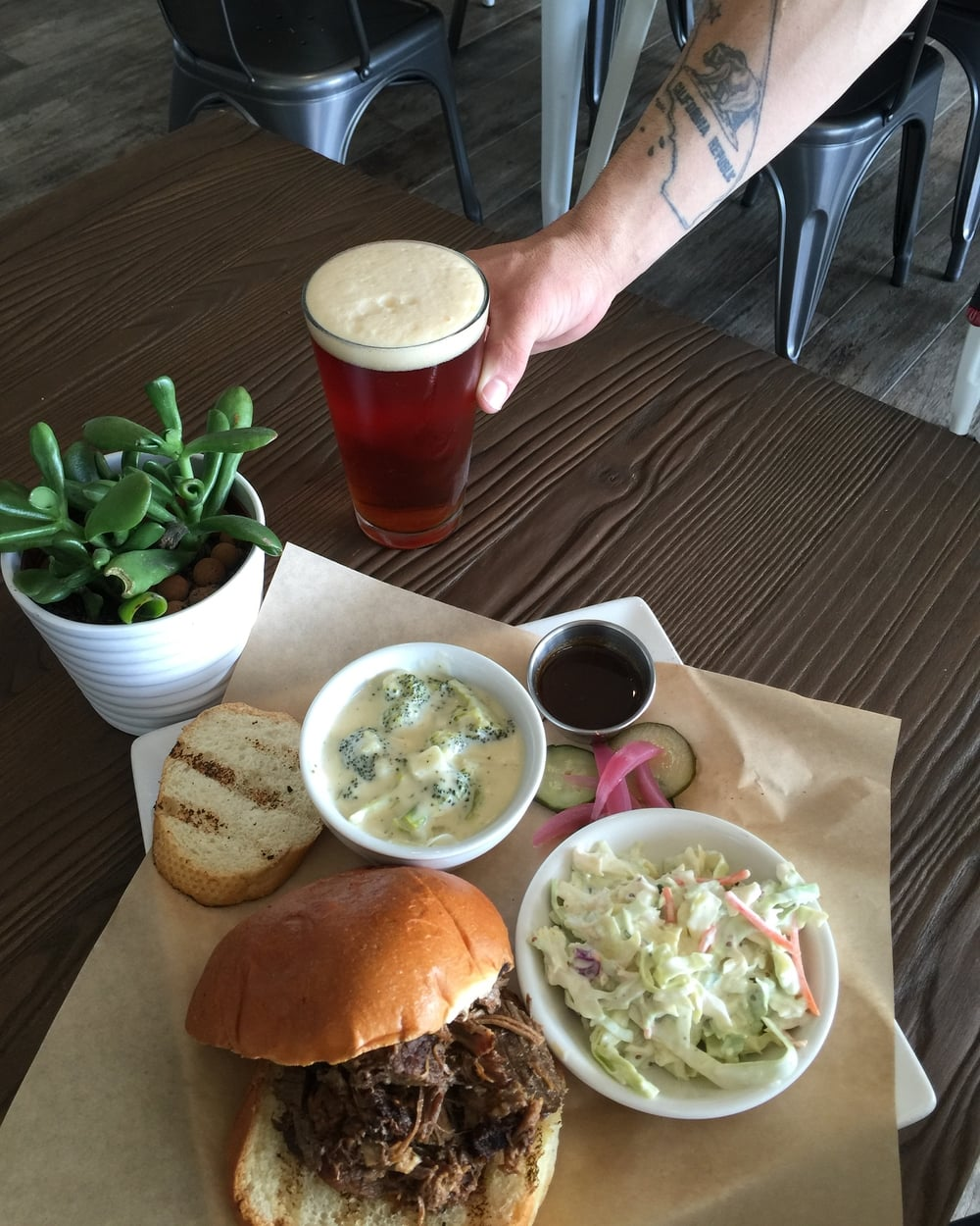 Smoked Brisket sandwich with cup of cheddar broccoli soup and a pint of Lagunitas Brown Sugga Ale.