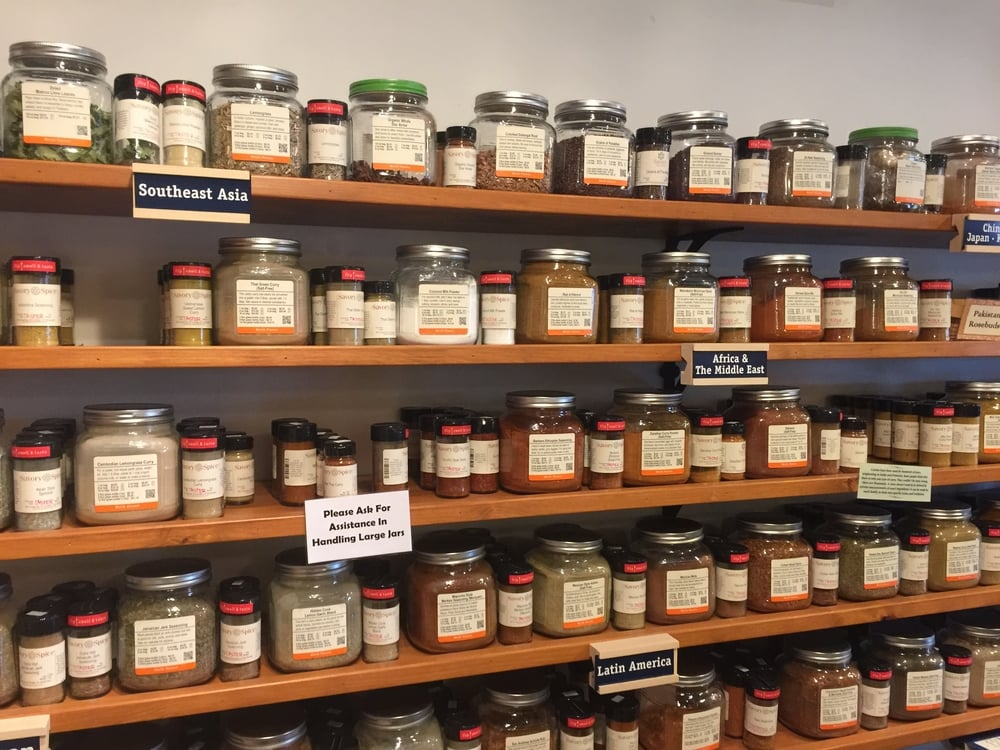 A beautiful wall of spices!