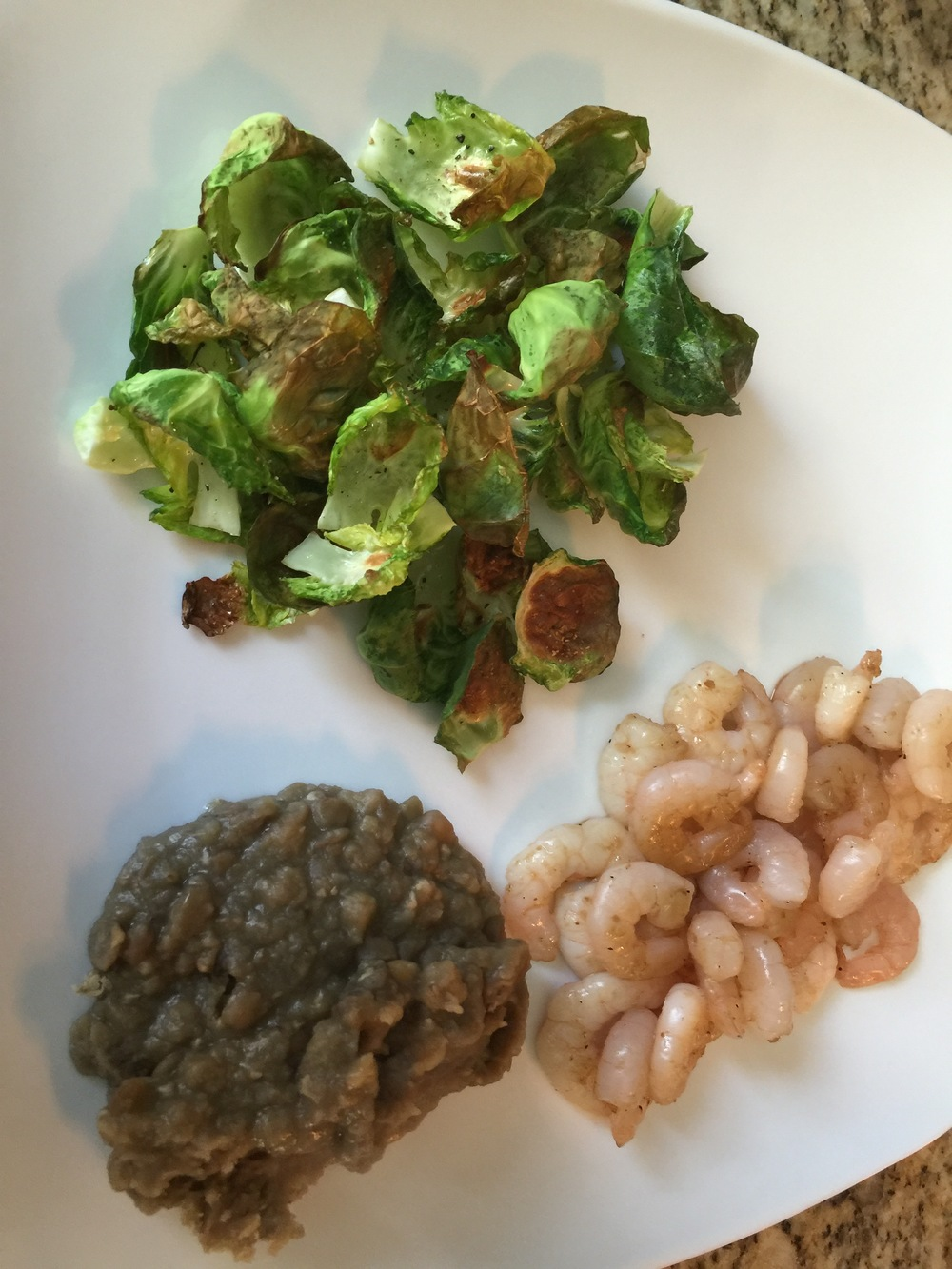Brussels Sprouts chips, cooked shrimp and lentils