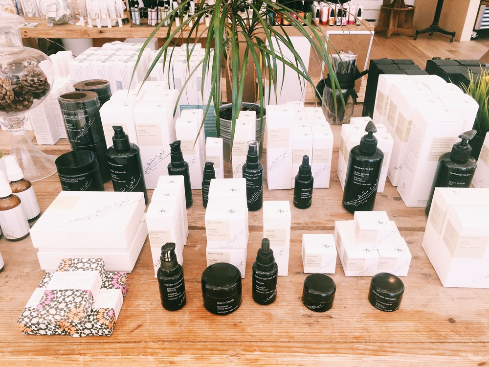 Display of the Kahina line which focuses around Argan Oil