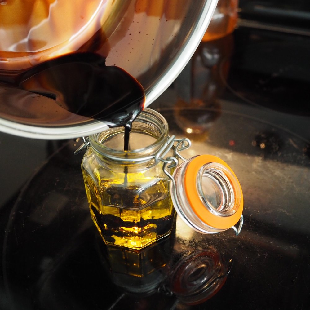 Pour your reduced vinegar into your olive oil in a little glass jar.