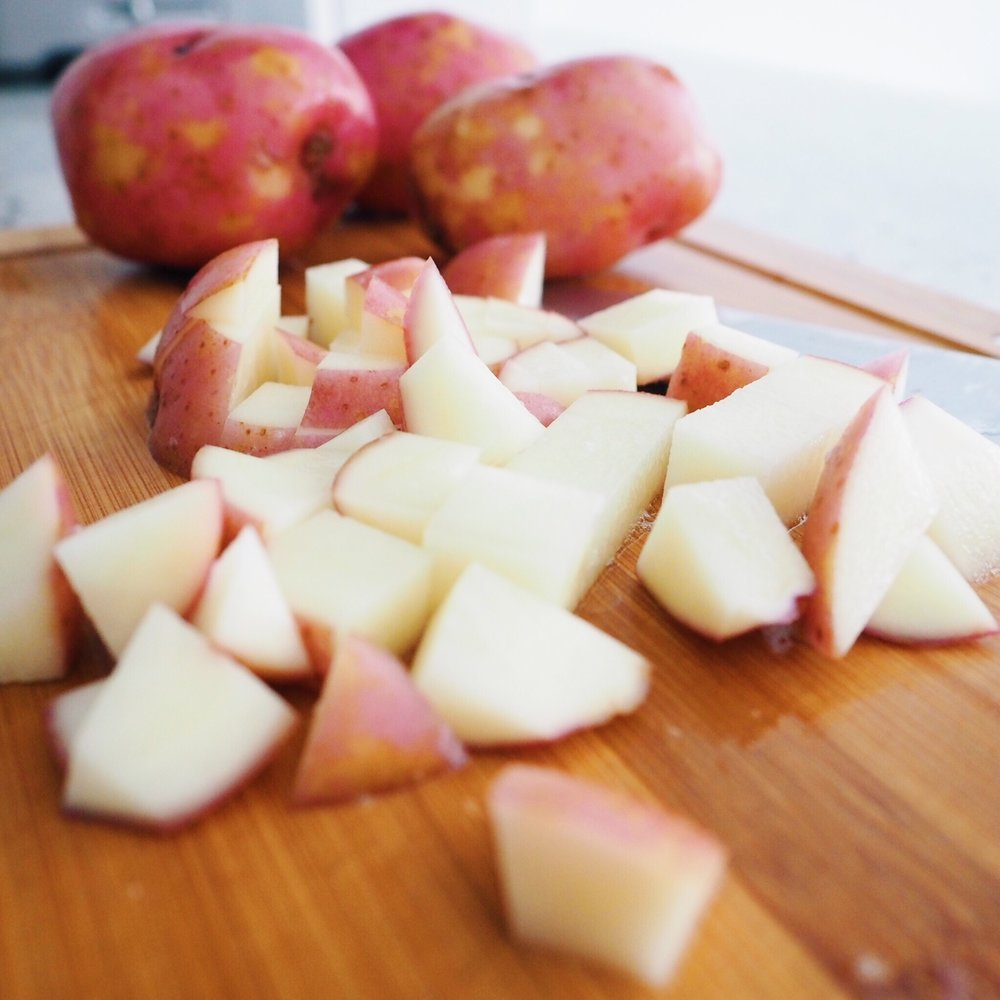 Step 2 - Small dice the potatoes