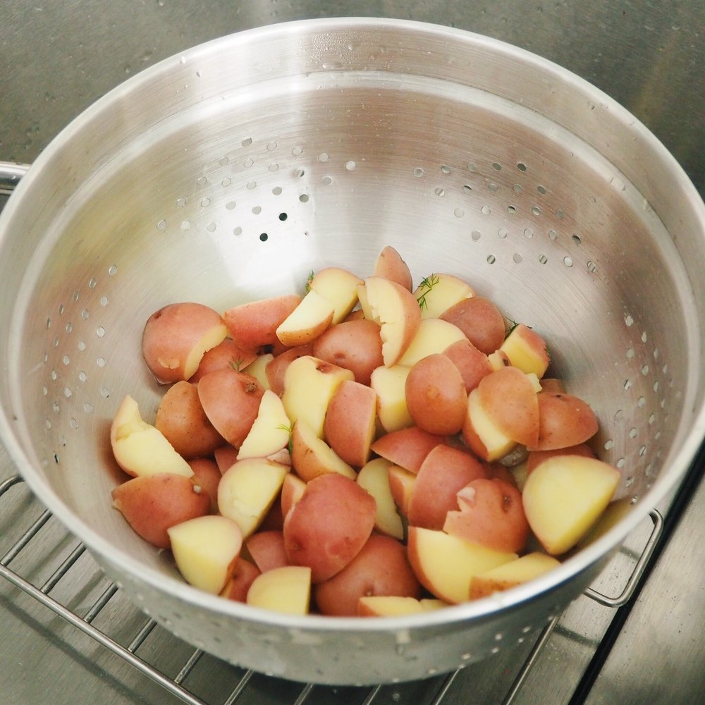Step 5 - Once potatoes are cooked, strain them and place them back into the pot