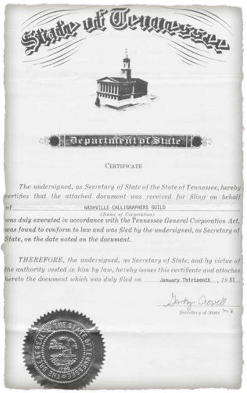 Nashville Calligraphers Guild State of Tennessee Certificate