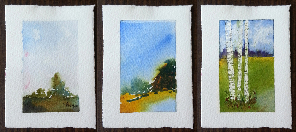 "Tiny Watercolors 1, 2 and 5 by Kay McWhorter Watercolor on 140# cold press paper Each piece of paper is 2.5"" x 3.5"""