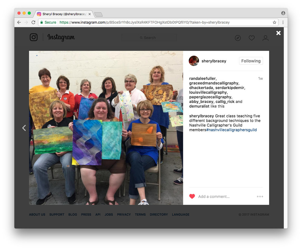 Sheryl Bracey uses #nashvillecalligraphersguild on Instagram in her background papers class.
