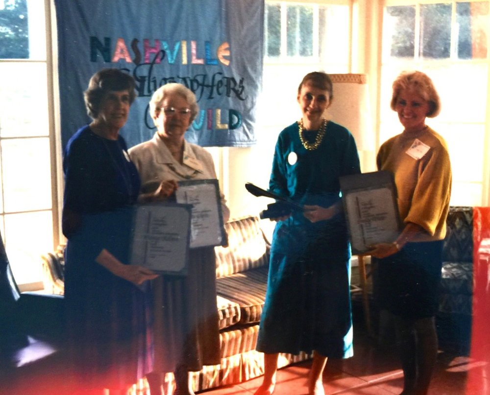 Tenth Anniversary of the Nashville Calligraphers Guild. Charter members Betty Gilpin, Donna Robert, Sandy White, and Nancy Rice were honored with exquisite certificates designed and lettered by Barb Bartels and mounted on hand-marbled paper made by Betty Wagner.