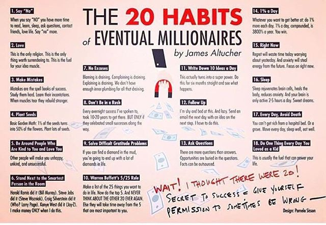 Happy FLY Financial Friday! Zoom in and save this! Daily mantra to keeping yourself mentally and physically healthy enough to achieve any goals you set; especially the financial ones! Which one of these habits do you do currently and which ones are you planning to pick up?