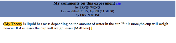 Fig 1. Example of student's note on KF for first experiment teacher conducted.