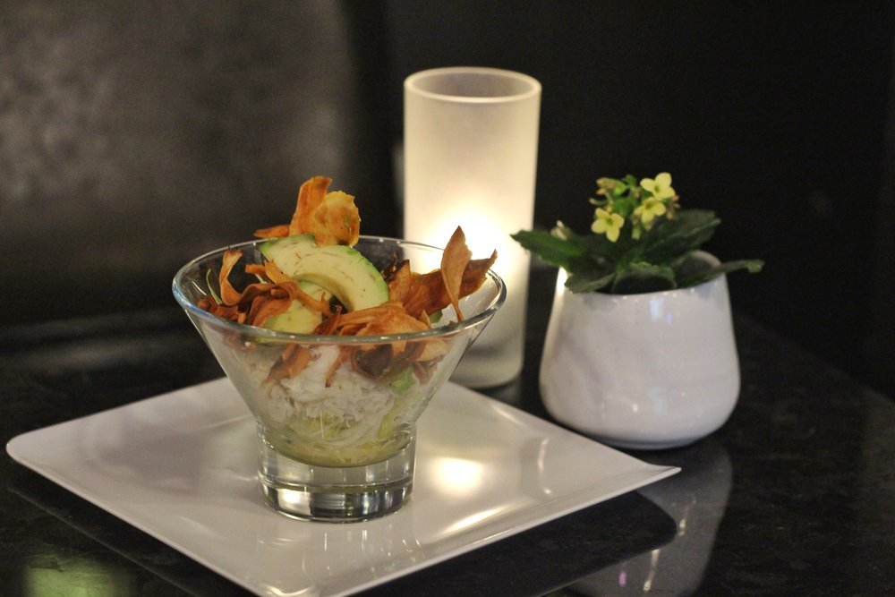 Crab & Avocado Parfait  - frisee, celery root, pickled ginger remoulade, lime, salsify crisps