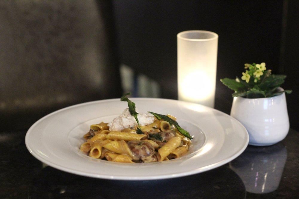 Garganelli Con Funghi  - porcini sauce, cremini mushrooms, fried sage, medjool date ricotta