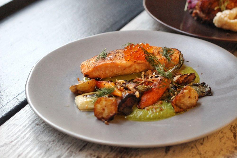 Torched Salmon  – roasted sun chokes, charred leeks, leek puree, puffed wild rice, roasted carrots, ikura