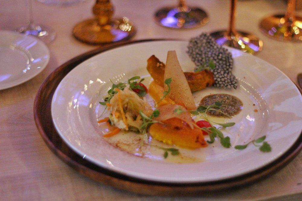 Cookstown Greens Hubbard Squash, White Kimchi, Pears, Pumpkin Pesto & Chicharron