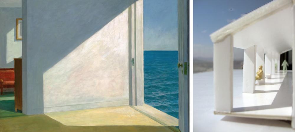 左:爱德华·霍普,《海边的房间》(Rooms by the Sea) 右:工作模型,廊子