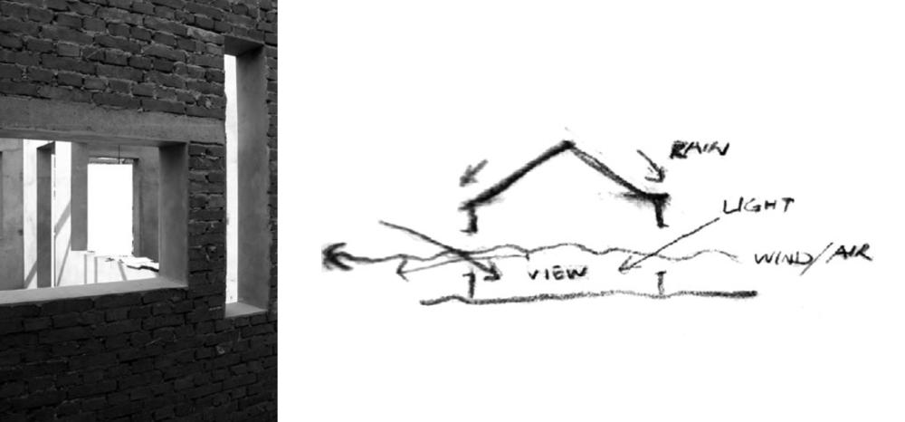 左:建造过程,长条窗和可开启木窗的窗洞 右:草图