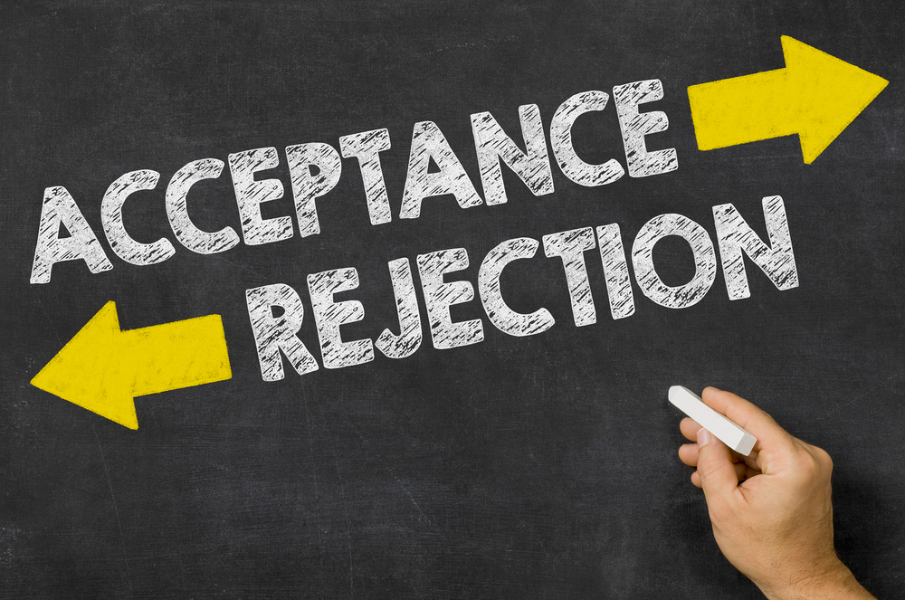 Acceptance Or Rejection Written On A Blackboard